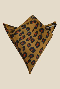 Blacksmith Brown Leopard Printed Satin Pocket Square