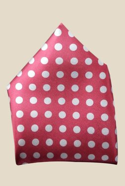 Blacksmith Maroon Polka Dots Printed Satin Pocket Square