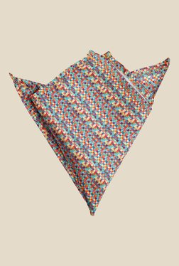 Blacksmith Multicolour Cross Printed Satin Pocket Square