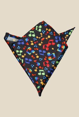 Blacksmith Musical Notes Printed Black Satin Pocket Square
