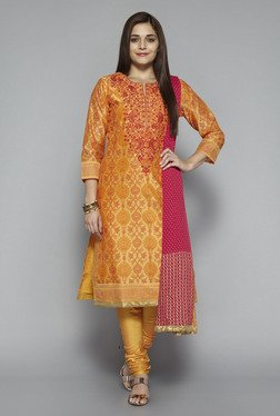 Vark by Westside Yellow Embroidered Suit Set