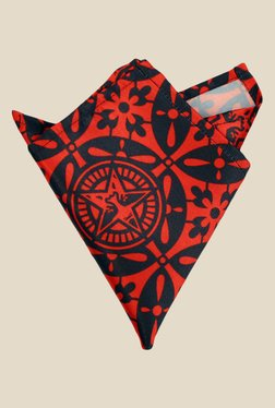 Blacksmith Red Japanese Star Printed Satin Pocket Square