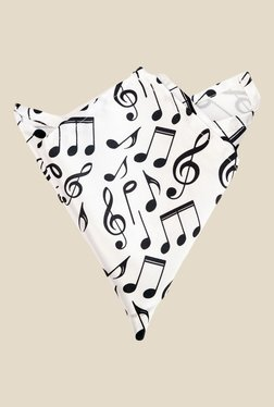 Blacksmith White Musical Notes Printed Satin Pocket Square