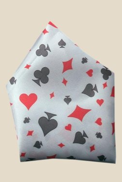 Blacksmith White Hearts Printed Satin Pocket Square
