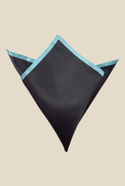 Blacksmith Black And Turquoise Satin Pocket Square