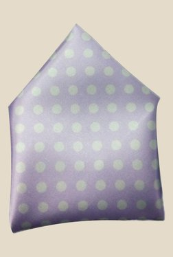 Blacksmith Lavender Polka Dots Printed Satin Pocket Square