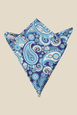 Blacksmith Blue Paisley Printed Satin Pocket Square