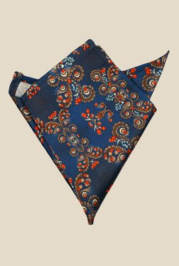 Blacksmith Japanese Print Navy Satin Pocket Square