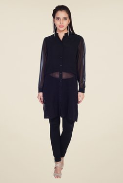 Soie Black Solid Tunic