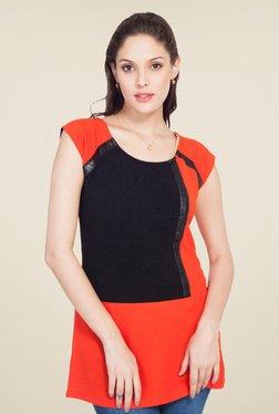 Soie Orange & Black Solid Top