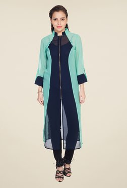 Soie Green & Navy Solid Tunic