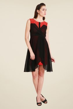 Soie Black & Red Lace Dress