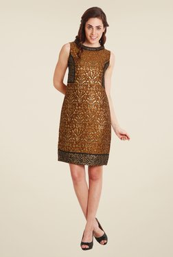 Soie Gold Printed Dress