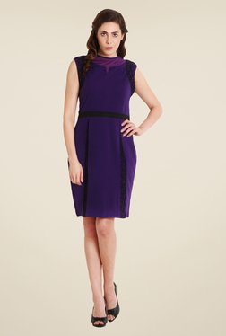 Soie Purple Embroidered Dress