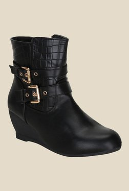 Kielz Black Wedge Heeled Booties