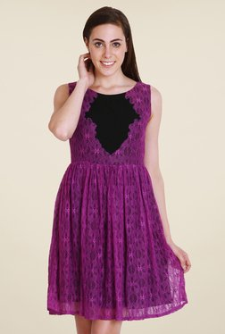 Soie Purple Floral Print Dress