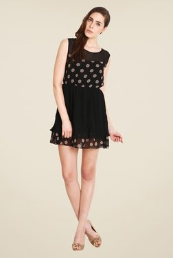 Soie Black Polka Dot Dress