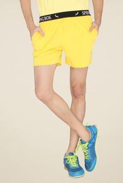 Lucfashion Yellow Solid Shorts