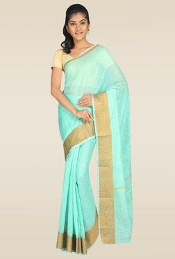 Pavecha Blue Banarasi Cotton Silk Zari Saree