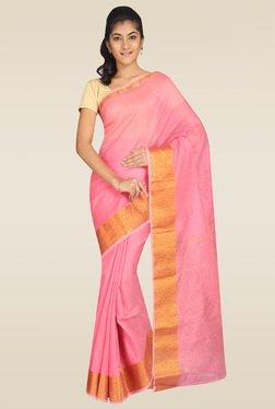 Pavecha Pink Banarasi Cotton Silk Zari Saree With Blouse