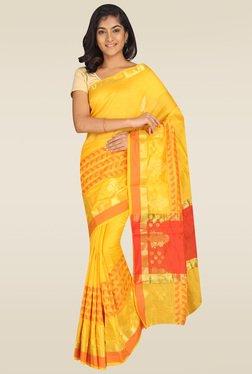 Pavecha Yellow Solid Banarasi Saree