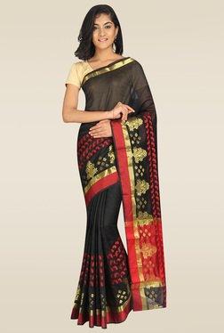 Pavecha Black Banarasi Zari Saree With Blouse