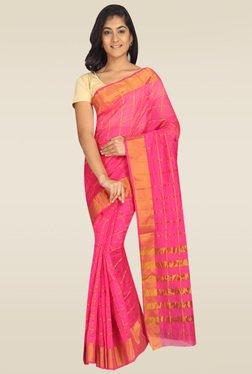 Pavecha Pink Banarasi Checks Saree With Blouse