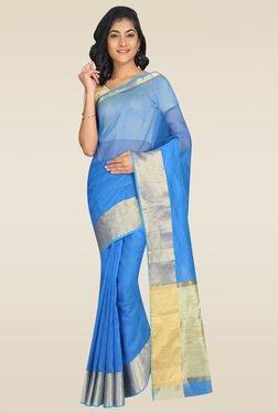 Pavecha Blue Banarasi Cotton Silk Saree