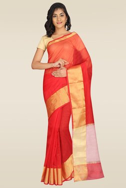 Pavecha Red Banarasi Cotton Silk Saree