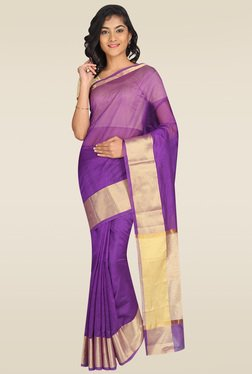 Pavecha Purple Banarasi Cotton Silk Saree With Blouse