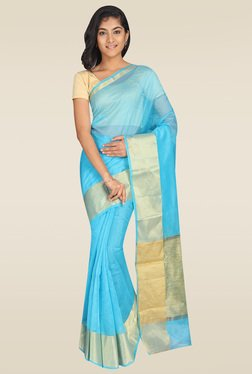 Pavecha Blue Banarasi Cotton Silk Saree With Blouse