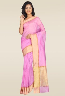 Pavecha Pink Banarasi Cotton Silk Saree With Blouse