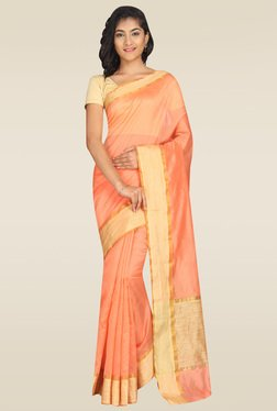 Pavecha Orange Banarasi Cotton Silk Saree With Blouse
