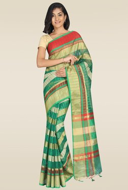 Pavecha Green Cotton Silk Banarasi Saree