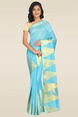 Pavecha Blue Banarasi Cotton Silk Zari Saree With Blouse