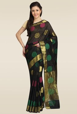 Pavecha Black Banarasi Gold Zari Saree