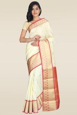 Pavecha White Kanjivaram Saree