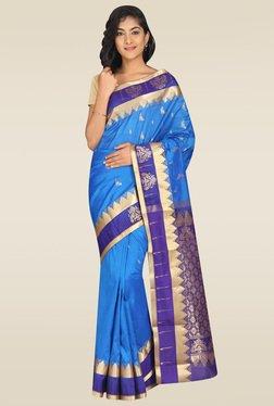 Pavecha Blue Kanjivaram Saree
