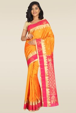 Pavecha Orange Kanjivaram Saree