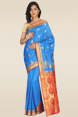 Pavecha Blue Kanjivaram Silk Saree