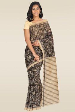 Pavecha Black & Beige Mangalagiri Saree With Blouse