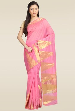 Pavecha Pink Banarasi Silk Saree With Blouse