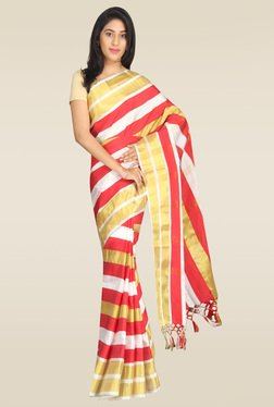 Pavecha Red Striped Banarasi Silk Saree With Blouse