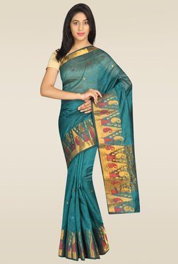 Pavecha Blue Silk Saree