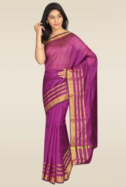 89a1430b2fd786 Pavecha Purple Banarasi Silk Saree with Blouse