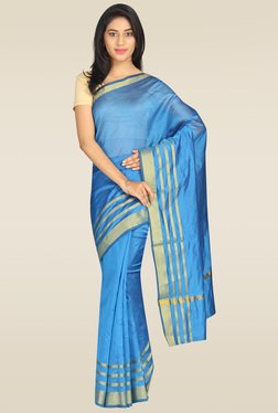 Pavecha Blue Silk Saree With Blouse