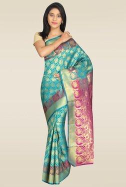 Pavecha Blue Cotton Silk Zari Saree With Blouse