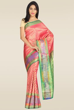 Pavecha Pink Banarasi Silk Gold Zari Saree With Blouse