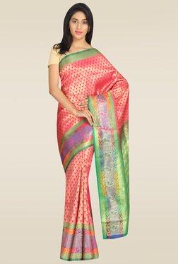 Pavecha Pink Banarasi Silk Gold Zari Saree With Blouse