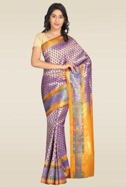 Pavecha Purple Banarasi Cotton Silk Gold Zari Saree